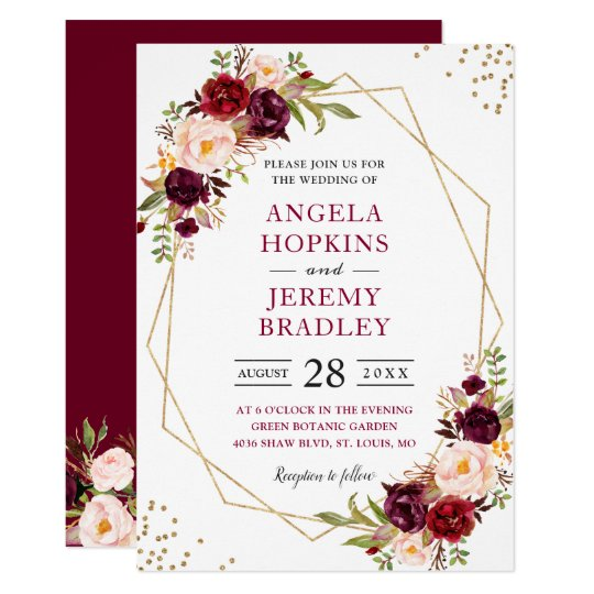 Blush Burgundy Floral Modern Gold Frame Wedding Invitation Zazzle Ca