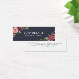 Blush & Burgundy Flowers - RSVP details Mini Business Card