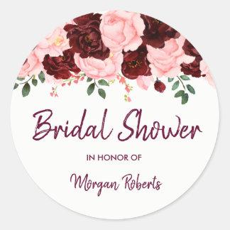 Blush & Burgundy Rose Bridal Shower Script Classic Round Sticker