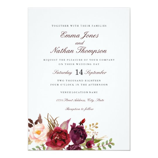Blush Burgundy Watercolor Floral Wedding Card