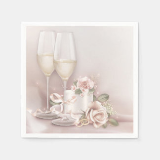 Blush Champagne and Cake Paper Napkins