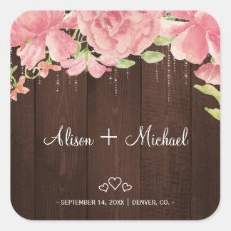 Blush chic peonies rustic barn wood hearts wedding square sticker