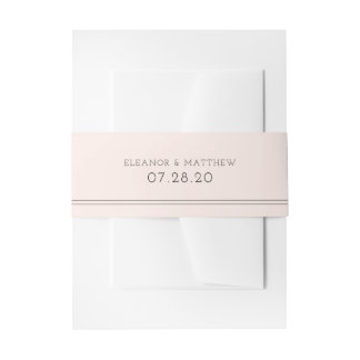 Blush Color Block Minimalist Belly Band Invitation Belly Band
