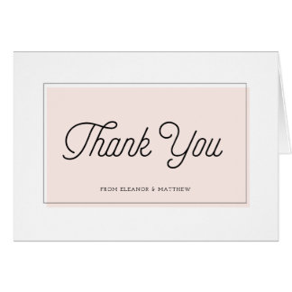 Blush Color Block Minimalist Thank You Card