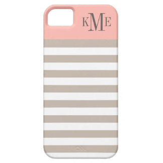 Blush Color Block Monogram | Neutral Stripes iPhone 5 Case