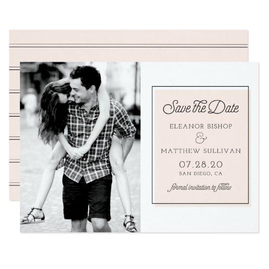 Blush Colour Block Minimalist Photo Save the Date Card