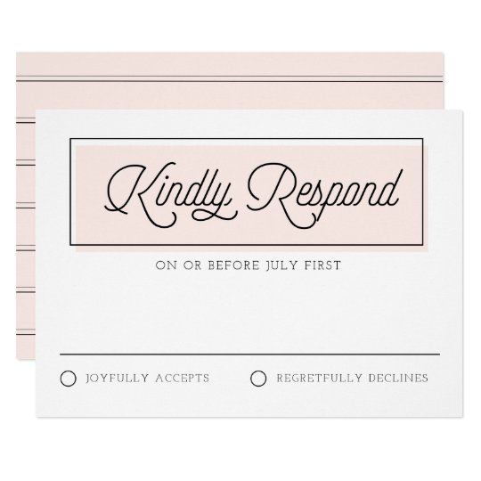 Blush Colour Block Minimalist Wedding RSVP Card