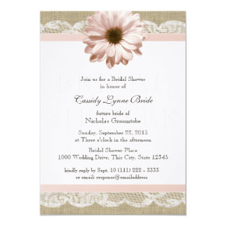 Blush Daisy Country Lace Bridal Shower Card