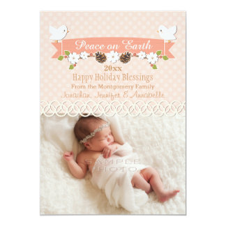BLUSH DOVE BABY'S 1ST CHRISTMAS HOLIDAY PHOTO CARD