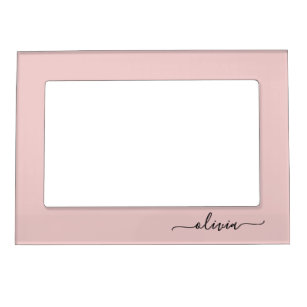 Blush Dusty Pink Modern Script Girly Monogram Name Magnetic Frame