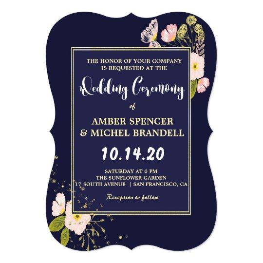 Blush Floral Gold Frame Navy Blue Modern Wedding Card