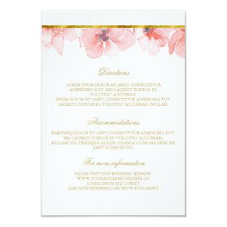 "Blush Floral Gold Wedding Details - Information 3.5"" X 5"" Invitation Card"