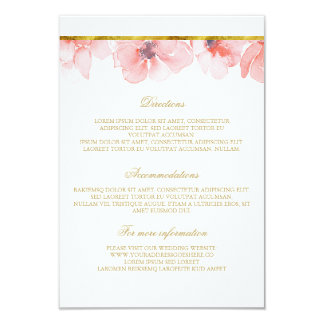 Blush Floral Gold Wedding Details - Information Card