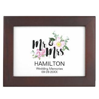 Blush Floral Personalized Wedding Memories Keepsake Box