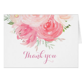 blush Floral thank you card