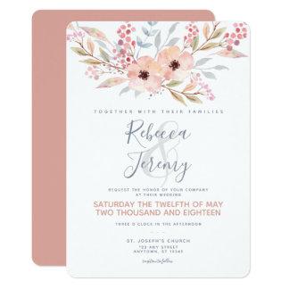 Blush Floral Watercolor Modern Wedding Invitation