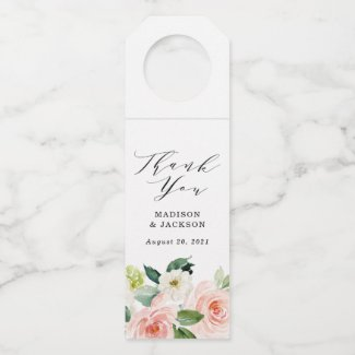 Blush Florals | Personalized Wedding Bottle Tag