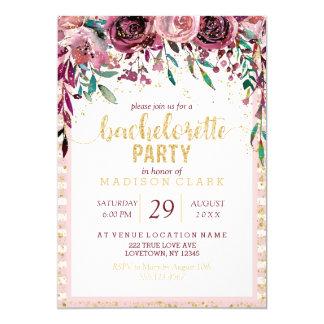 Blush Flowers Gold Bachelorette Party Invitation