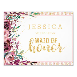 Blush Flowers Gold Will You Be My Maid of Honour Card