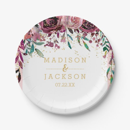 Blush Flowers Stripes & Gold Wedding Monogram 7 Inch Paper Plate