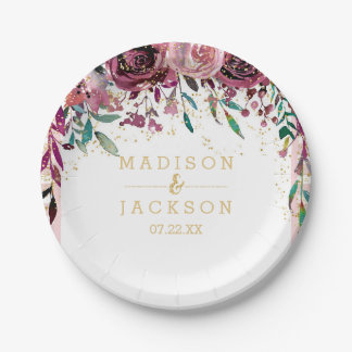 Blush Flowers Stripes & Gold Wedding Monogram Paper Plate