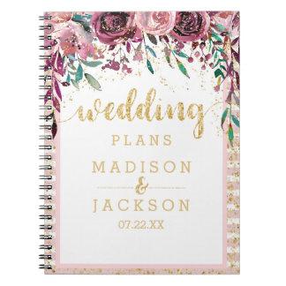 Blush Flowers Stripes & Gold Wedding Planner Spiral Notebook