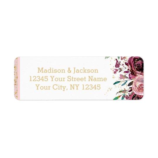 Blush Flowers Stripes Gold Wedding Return Address Return Address Label