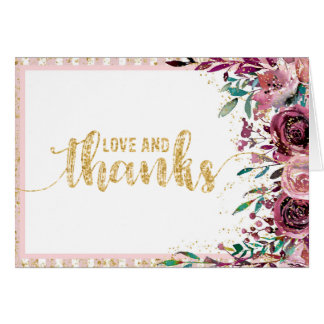 Blush Flowers Stripes & Gold Wedding Thank You Card