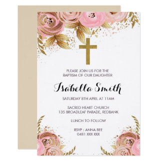 Blush Gold floral Baptism / Christening Invitation