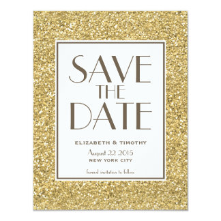 "Blush Gold Glitter Save the Date Card 4.25"" X 5.5"" Invitation Card"