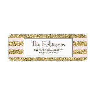 Blush Gold Glitter Stripes Address label