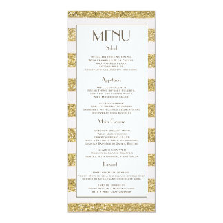"Blush Gold Glitter Stripes Wedding Menu 4"" X 9.25"" Invitation Card"