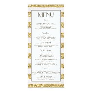 "Blush Gold Glitter Stripes Wedding Menu 4"" X 9.25"" Invitation Card"