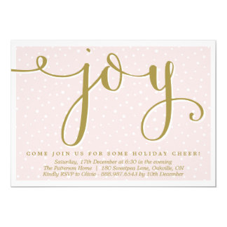 Blush & Gold Joy Script | Holiday Party Invitation