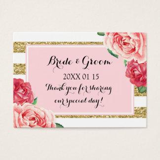 Blush Gold Pink Floral Wedding Favor Tags