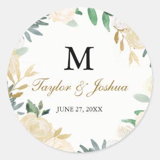 Blush Gold Wreath Monogram Wedding Sticker