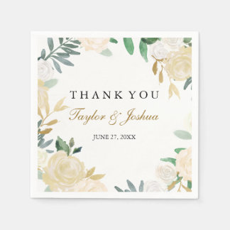 Blush Gold Wreath Thank You Wedding Napkin Paper Napkin