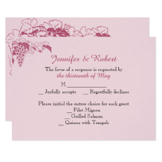 Blush Grapevine Wedding Response Card