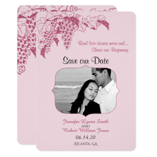 Blush Grapevine Wedding Save the Date Card