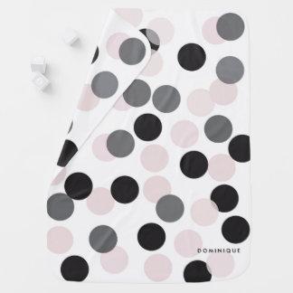 Blush & Gray Confetti Bokeh Pattern Personalized Baby Blanket