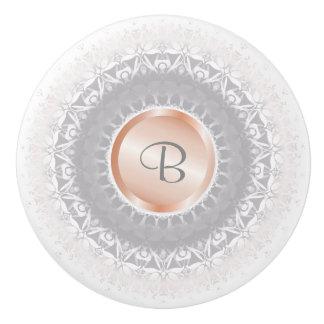 Blush Grey White Rose Gold Mandala Monogram Ceramic Knob