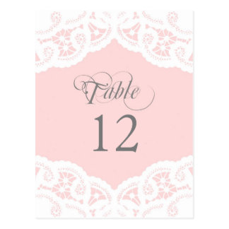 Blush Lace Doily Wedding Table Number Table Cards