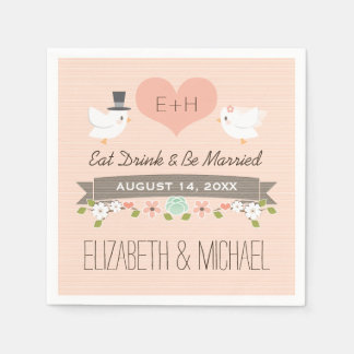 Blush Love Bird Dove Wedding Paper Napkins