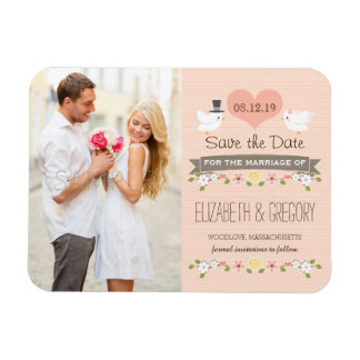 Blush Love Birds Dove Save the Date Magnet