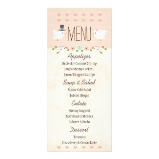 Blush Love Birds Dove Wedding Menu