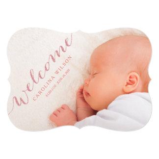 Blush Modern Baby Girl Birth Photo Announcement