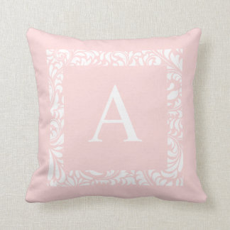 Blush Monogram A Throw Pillow