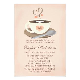 "Blush Monogrammed Heart Coffee Cup Bridal Shower 5"" X 7"" Invitation Card"