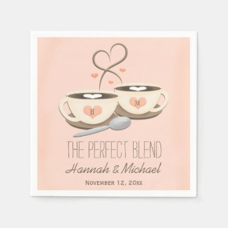 Blush Monogrammed Heart Coffee Cups Wedding Paper Napkins