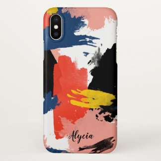 Blush Navy Blue & Black Watercolor Brushstrokes iPhone X Case